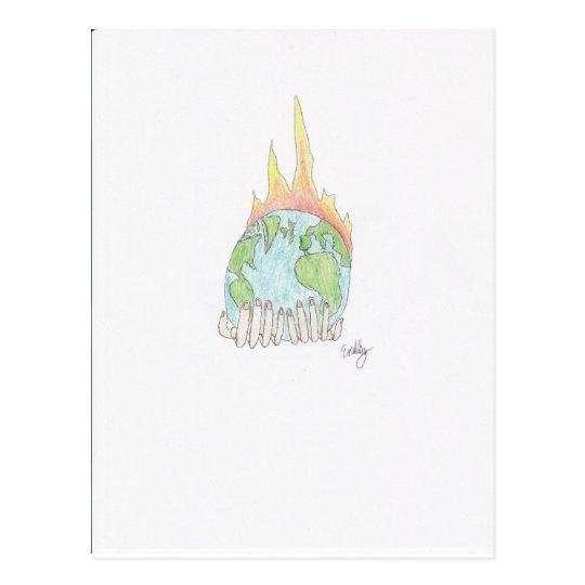 World on fire postcard