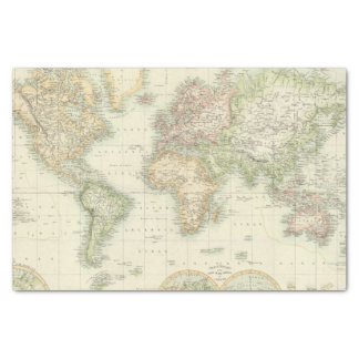 """World On Mercator's Projection 10"""" X 15"""" Tissue Paper"""