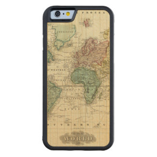 World on Mercators Projection Carved Maple iPhone 6 Bumper Case