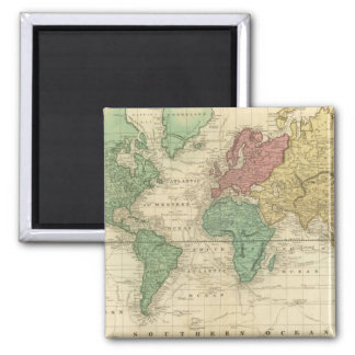 World on Mercators Projection 2 Inch Square Magnet