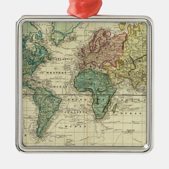 World on Mercators Projection Metal Ornament