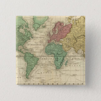 World on Mercators Projection Pinback Button