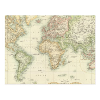 World On Mercator's Projection Postcard