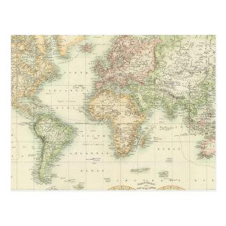World On Mercator's Projection Postcard