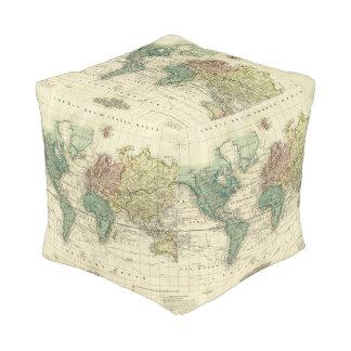 World on Mercators Projection Pouf