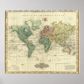 World on Mercators Projection Print
