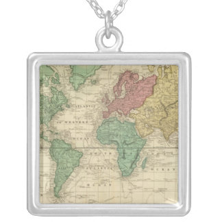 World on Mercators Projection Silver Plated Necklace
