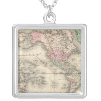 World on Mercator's Projection Silver Plated Necklace