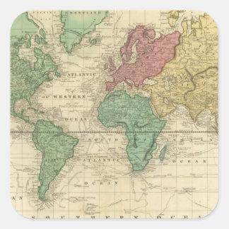 World on Mercators Projection Square Sticker