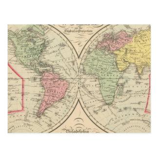 World on the Globular Projection Postcard