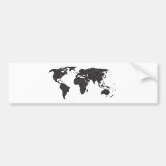 World Outline Dots Bumper Sticker