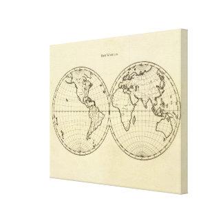 World outline double hemisphere canvas print