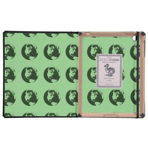 World Pattern green iPad Folio Cases