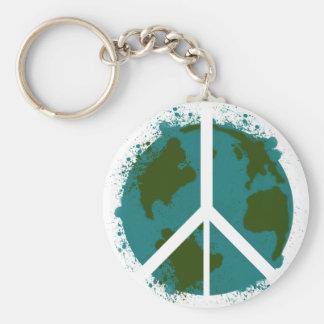 World Peace Basic Round Button Keychain
