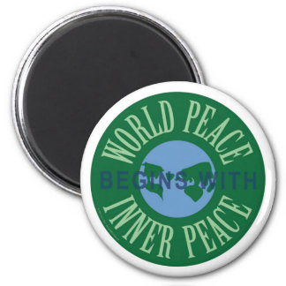 World Peace Begins With Inner Peace Magnet (Round)