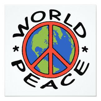 "World Peace Card 5.25"" Square Invitation Card"