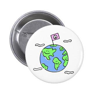 world peace cartoon illustration pinback button