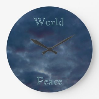 World Peace Colorful Blue Clouds Wall Clock