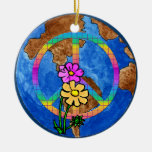 World Peace Colors Double-Sided Ceramic Round Christmas Ornament