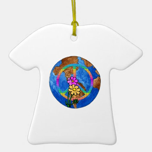 World Peace Colors Double-Sided T-Shirt Ceramic Christmas Ornament