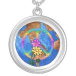 World Peace Colors Round Pendant Necklace