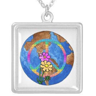 World Peace Colors Square Pendant Necklace