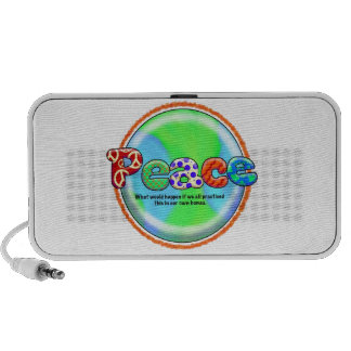 World Peace Cool Saying Artist Hippie Colorful Art Travelling Speakers