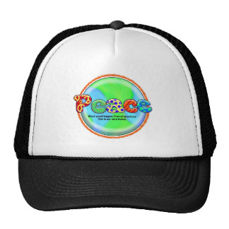 World Peace Cool Saying Artist Hippie Colorful Art Trucker Hat