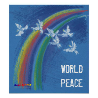 World Peace   Flying Pigeons Poster