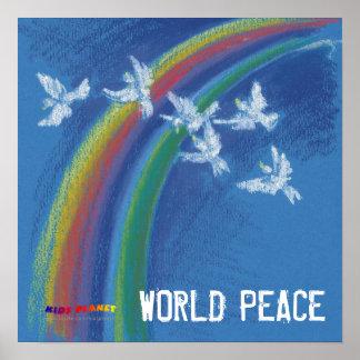 World Peace   Flying white doves Poster