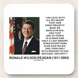 World Peace Force Last Resort Security Reagan Beverage Coaster