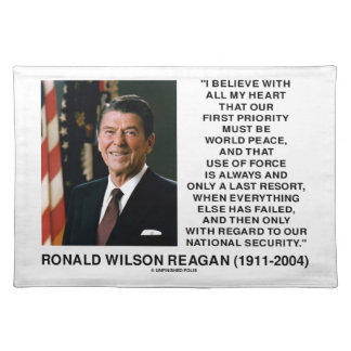 World Peace Force Last Resort Security Reagan Cloth Placemat