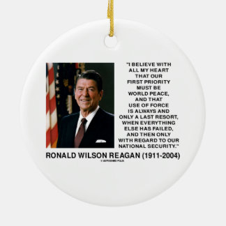 World Peace Force Last Resort Security Reagan Double-Sided Ceramic Round Christmas Ornament