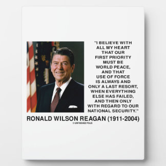 World Peace Force Last Resort Security Reagan Plaques