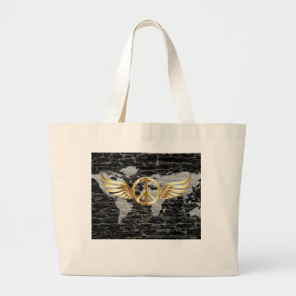 World peace large tote bag