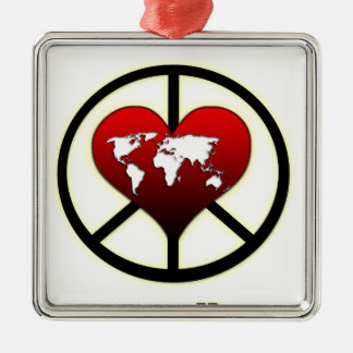 World Peace Square Metal Christmas Ornament