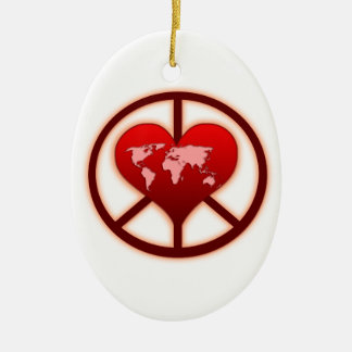 World Peace Double-Sided Oval Ceramic Christmas Ornament