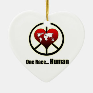 World Peace Double-Sided Heart Ceramic Christmas Ornament