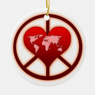World Peace Double-Sided Ceramic Round Christmas Ornament