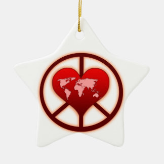 World Peace Double-Sided Star Ceramic Christmas Ornament