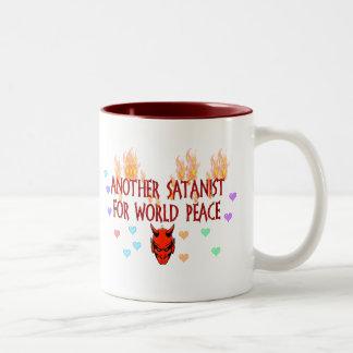 World Peace Satanist Two-Tone Coffee Mug