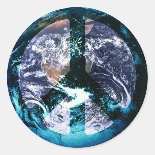 World Peace Round Stickers