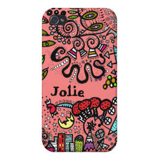 World Peach  Doodle Case Name Personalize Covers For iPhone 4