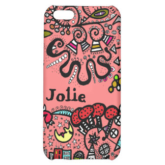 World Peach  Doodle Case Name Personalize iPhone 5C Cases