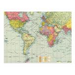 World political Map Postcard
