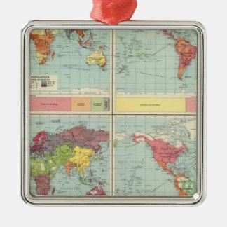 World population Map Christmas Tree Ornament