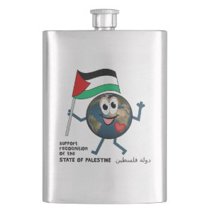 World Recognition of Palestinian Statehood Hip Flask