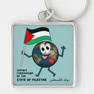 World Recognition of Palestinian Statehood Silver-Colored Square Keychain