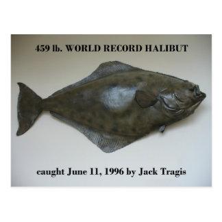 World Record Halibut caught in Dutch Harbor, AK Postcards