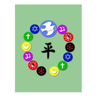 World Religion Symbols Postcard